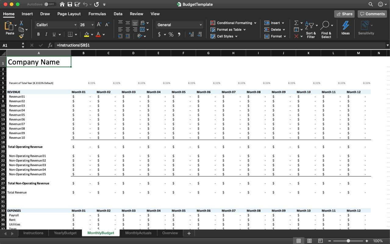 005 Striking Microsoft Office Excel Monthly Budget Template Idea Full