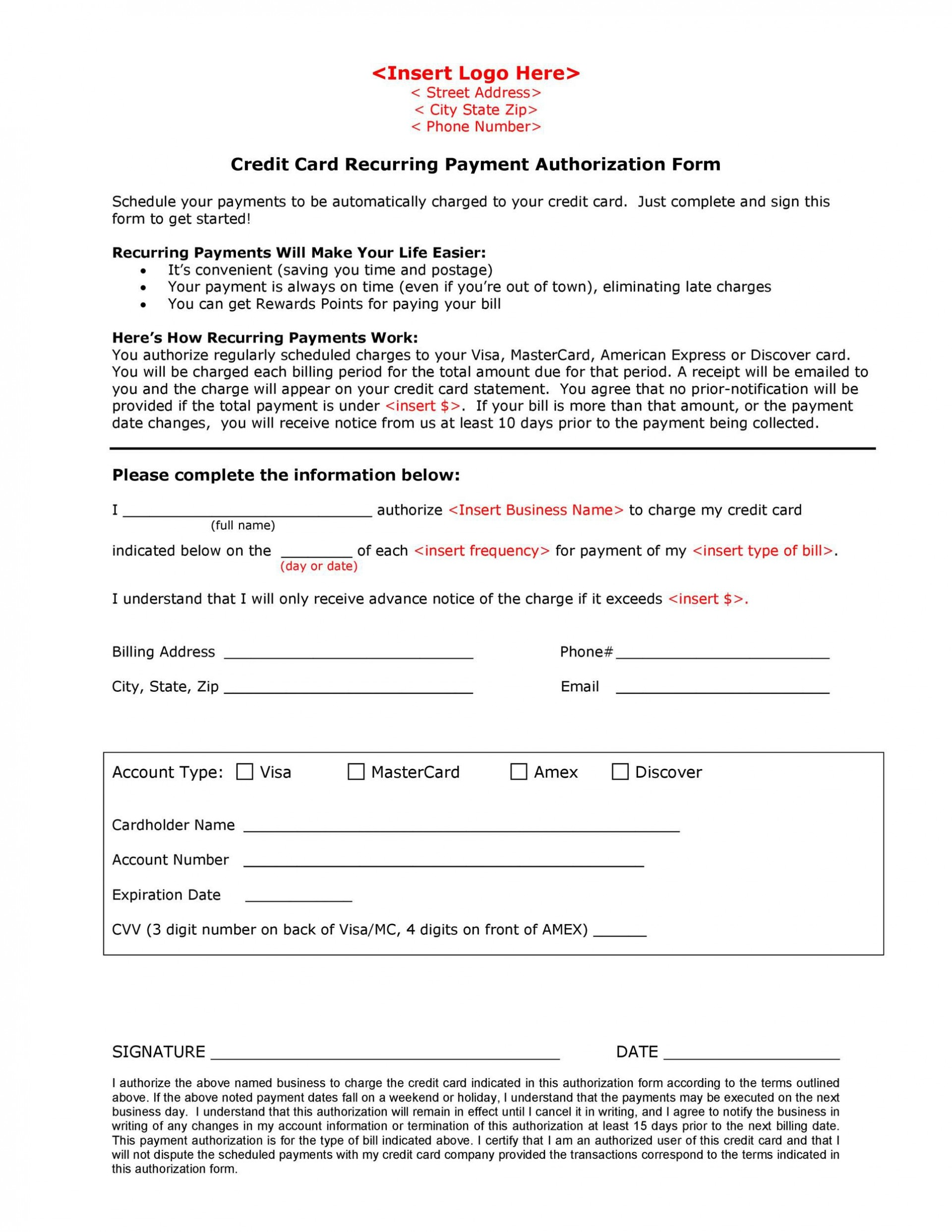 005 Striking One Time Credit Card Payment Authorization Form Template High Resolution 1920