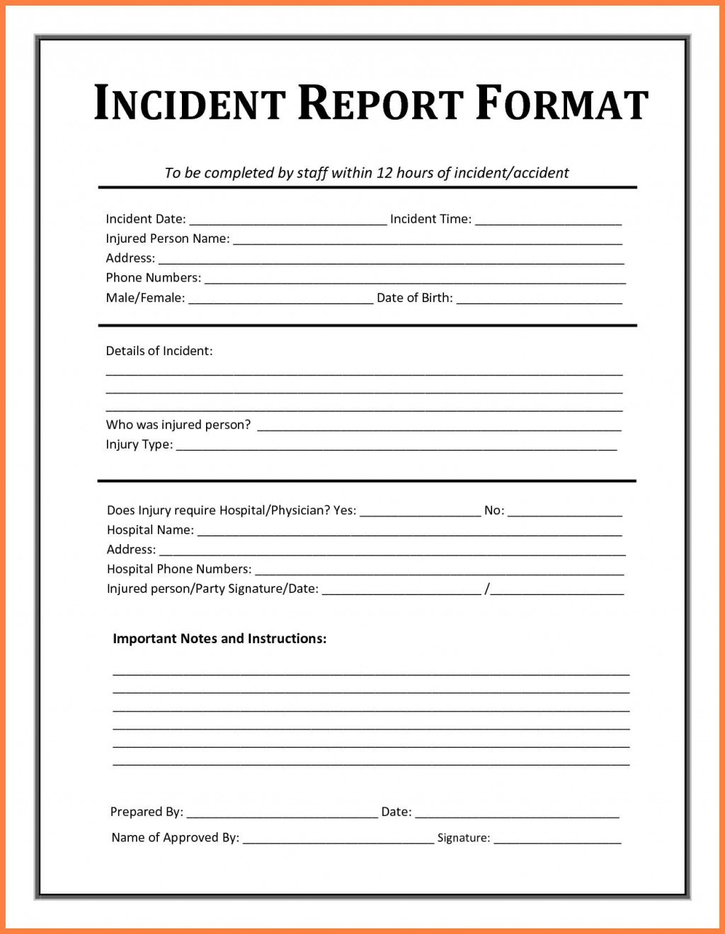 005 Striking Workplace Injury Report Form Template Ontario Picture Large