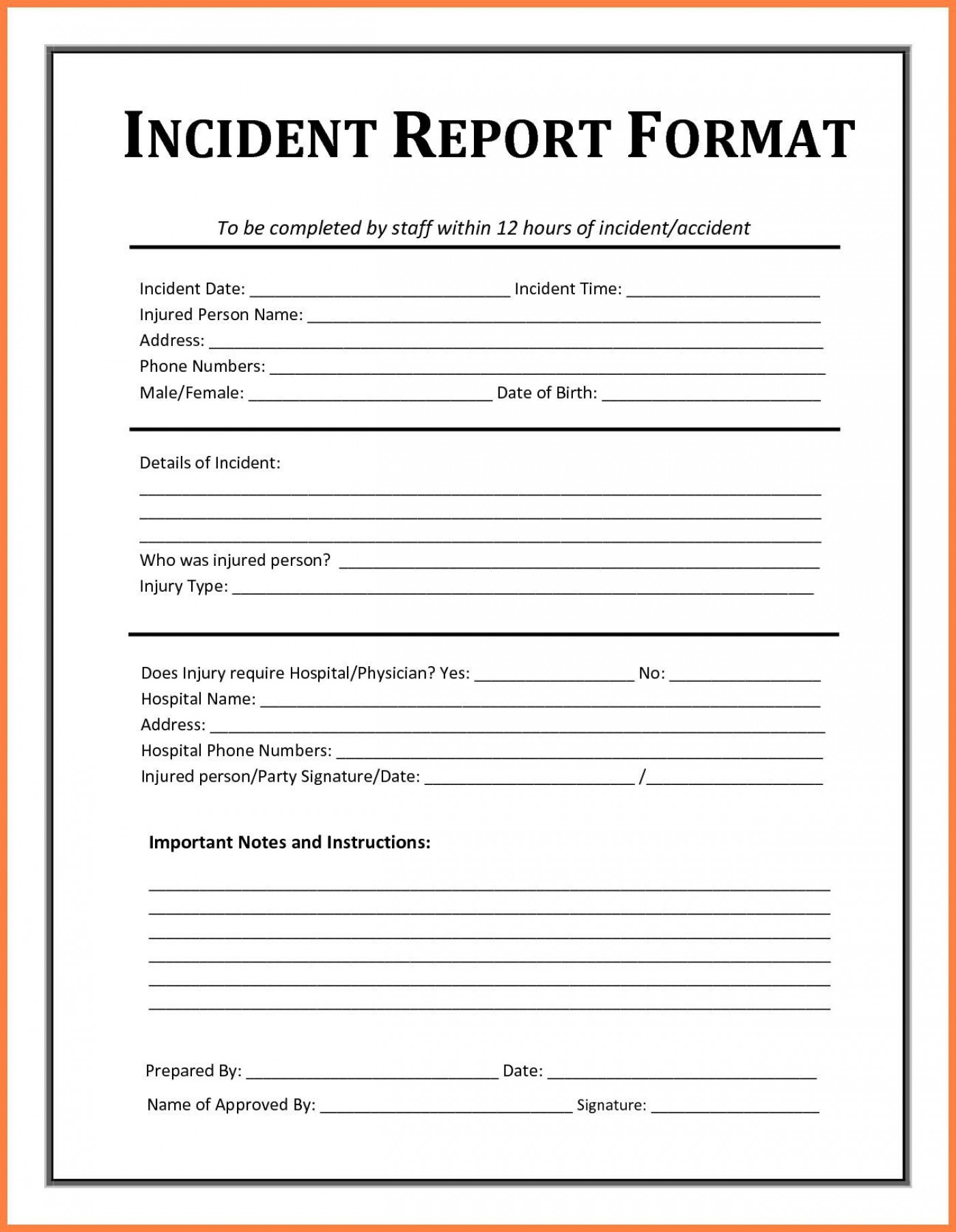 005 Striking Workplace Injury Report Form Template Ontario Picture 1400