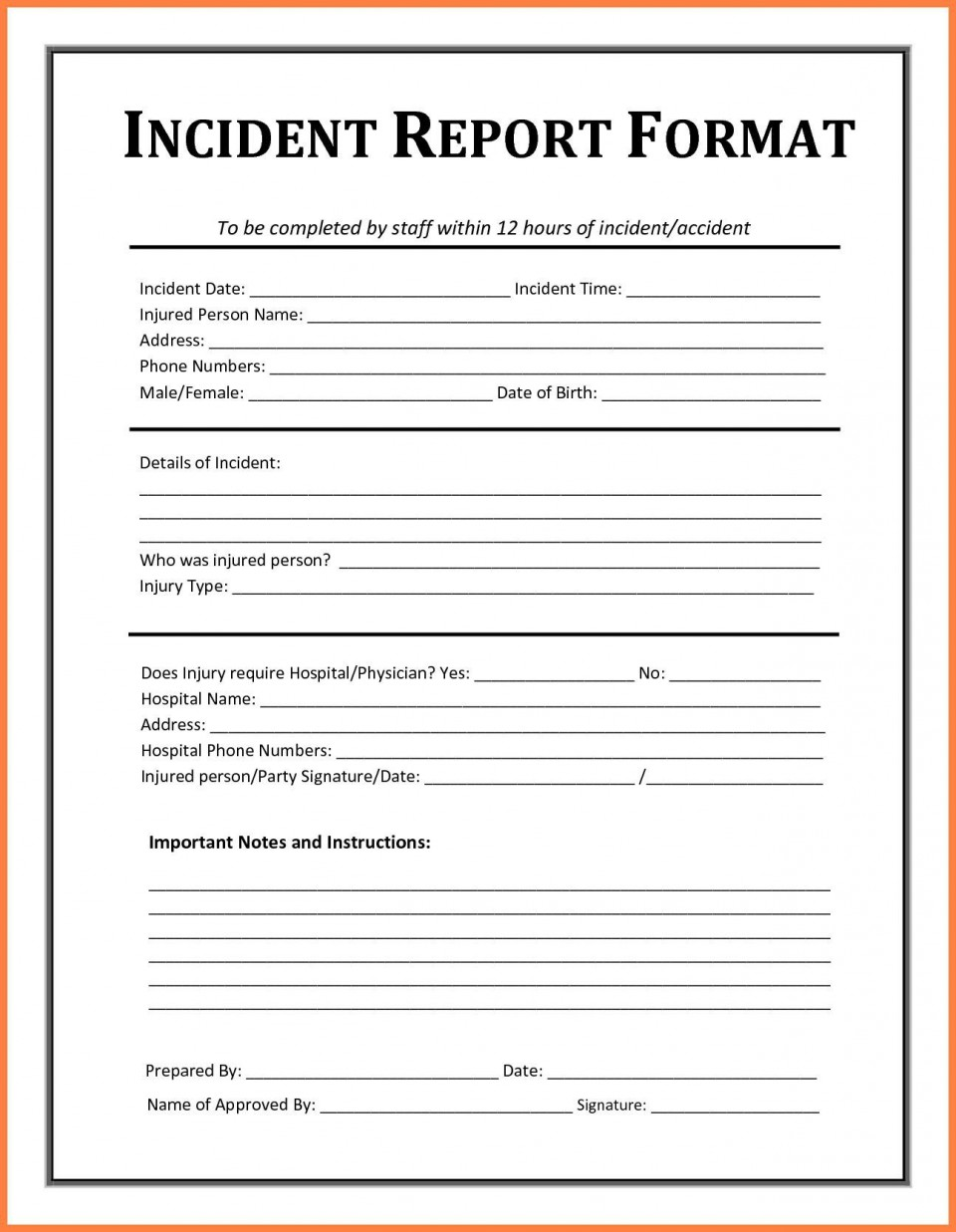 005 Striking Workplace Injury Report Form Template Ontario Picture 960
