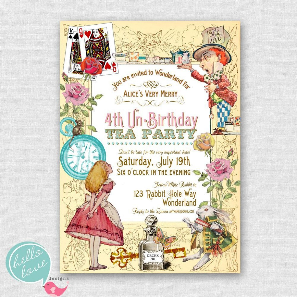 005 Stunning Alice In Wonderland Invite Template Highest Clarity  Party Invitation FreeLarge
