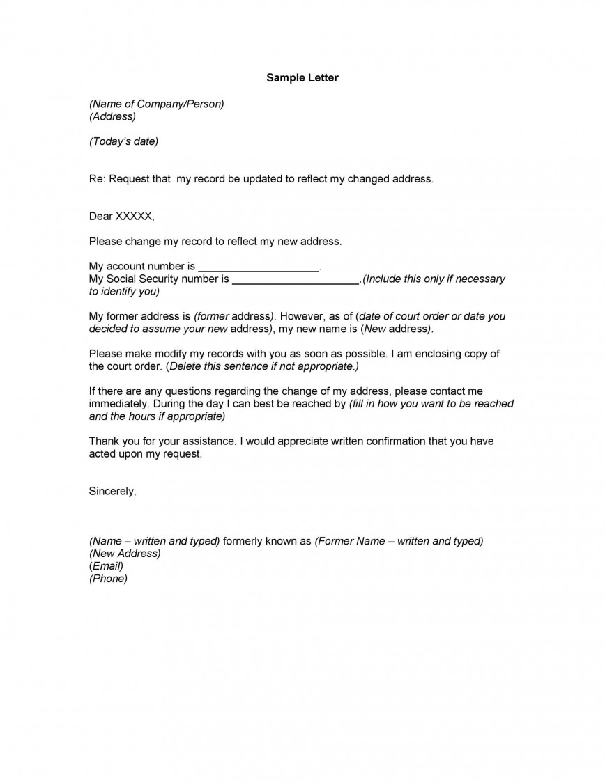 005 Stunning Change Of Addres Letter Template Sample  Templates For Busines Uk
