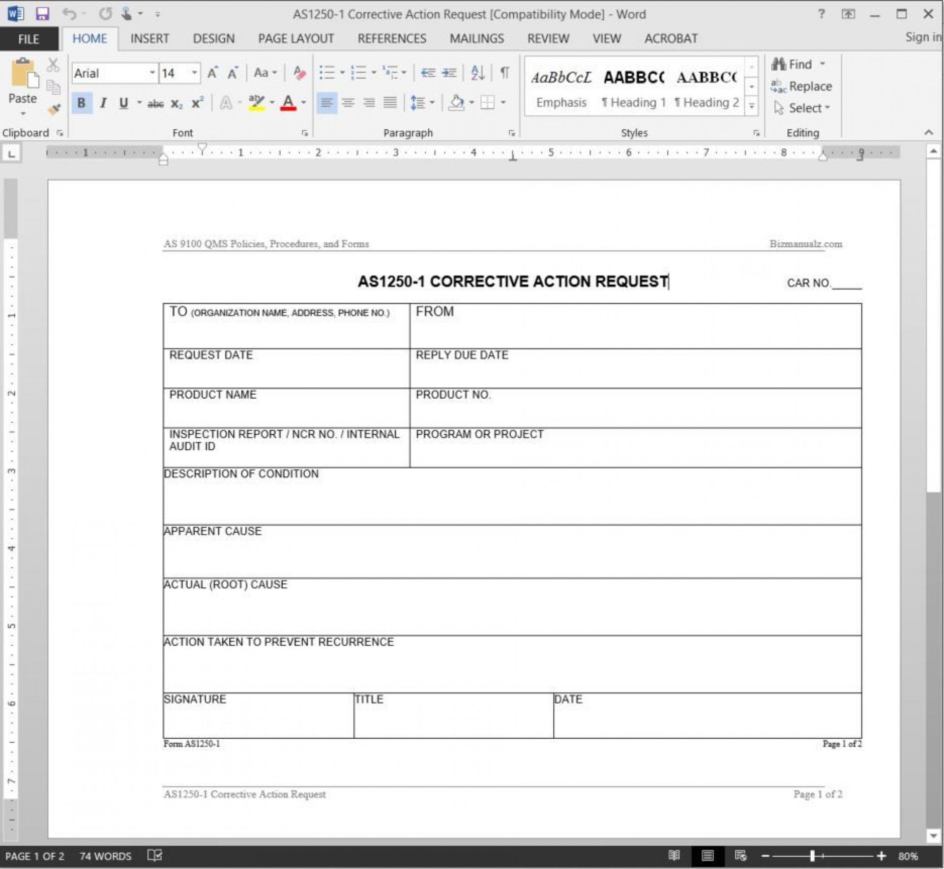 005 Stunning Corrective Action Form Template Highest Clarity  Free 8d Request Iso 9001 Employee1920