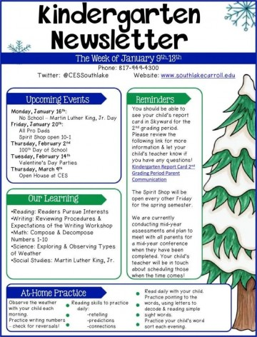 005 Stunning Free Newsletter Template For Teacher Example  Downloadable Editable Preschool360