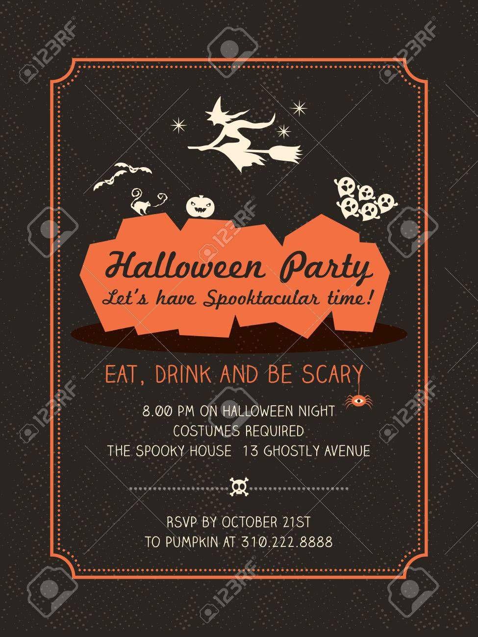 005 Stunning Halloween Party Invitation Template Example  Microsoft Block OctoberFull