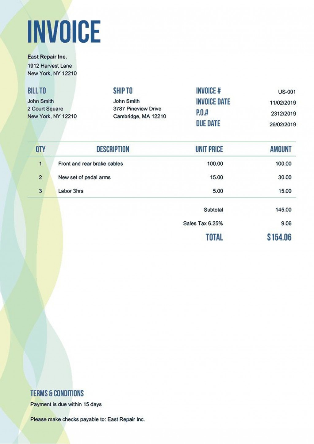 005 Stunning Invoice Template Free Printable High Definition  Blank Word Document DocLarge