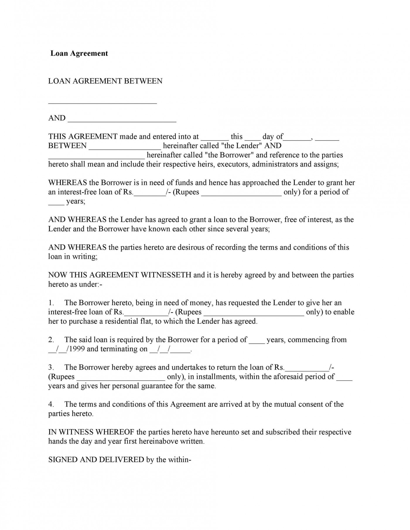 005 Stunning Loan Agreement Template Free Highest Quality  Wording Family Uk Personal Australia1400