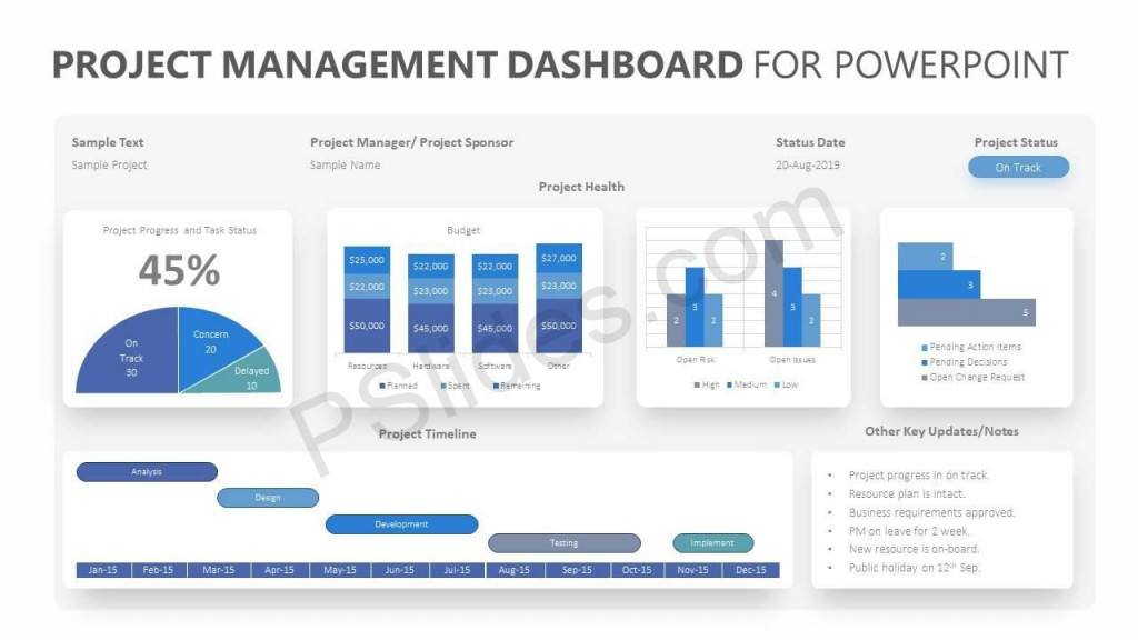 005 Stunning Project Management Dashboard Powerpoint Template Free Download Highest Quality Large