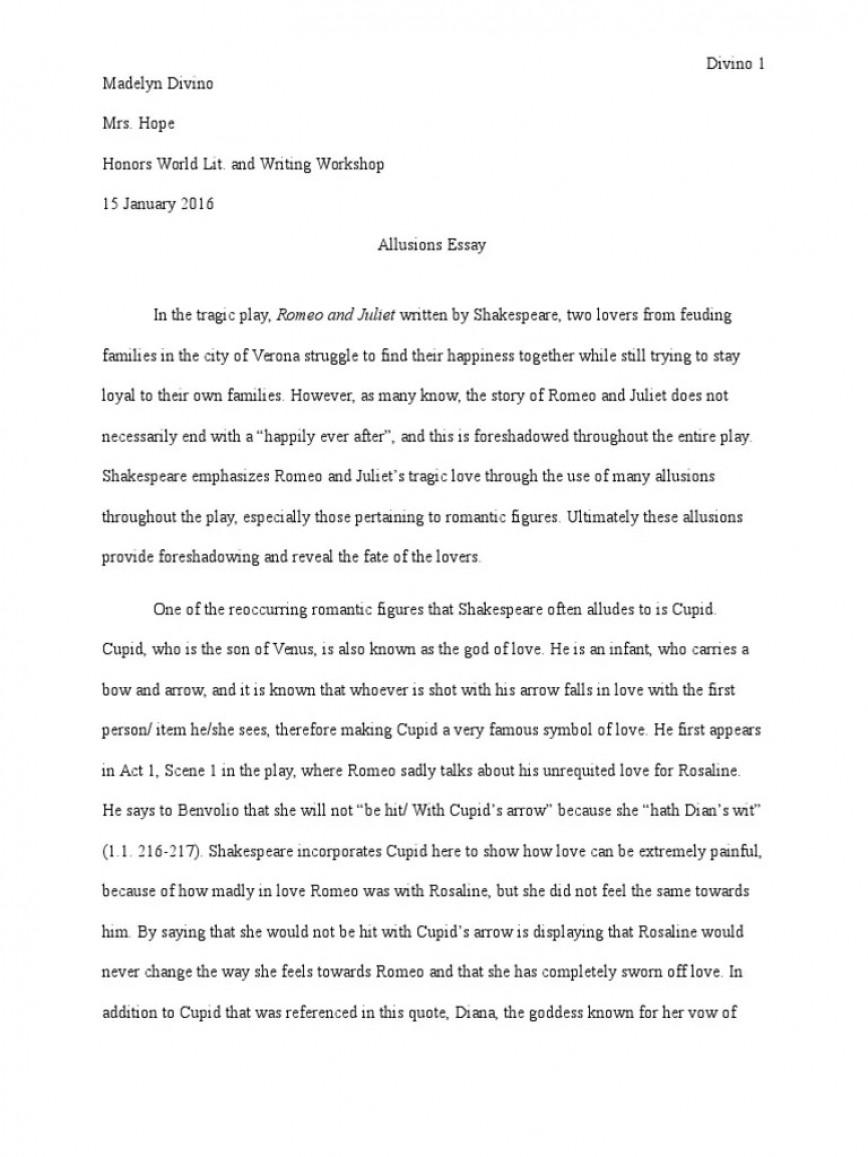 005 Stunning Romeo And Juliet Essay Inspiration  Pdf Hook