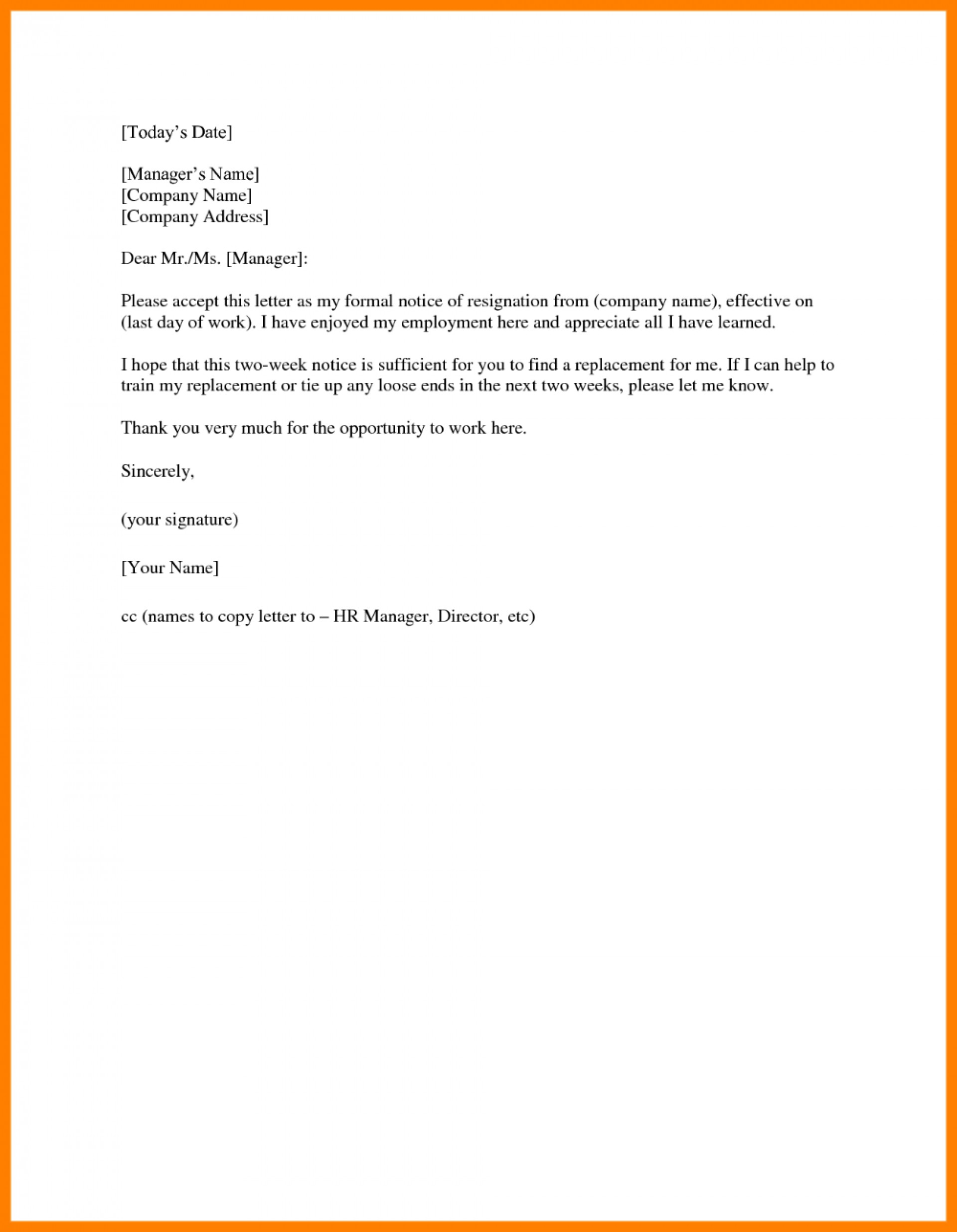 Two Weeks Notice Letter Template Word from www.addictionary.org
