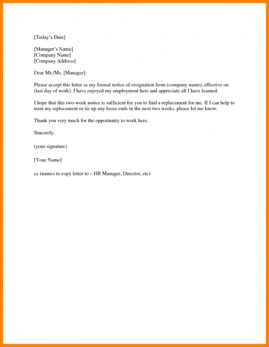 005 Stupendou 2 Week Notice Template Word Inspiration  Two Free Microsoft Letter