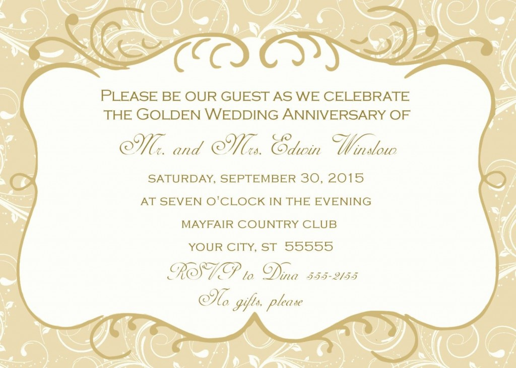 005 Stupendou 50th Wedding Anniversary Invitation Template Highest Quality  Templates Golden Uk Free DownloadLarge