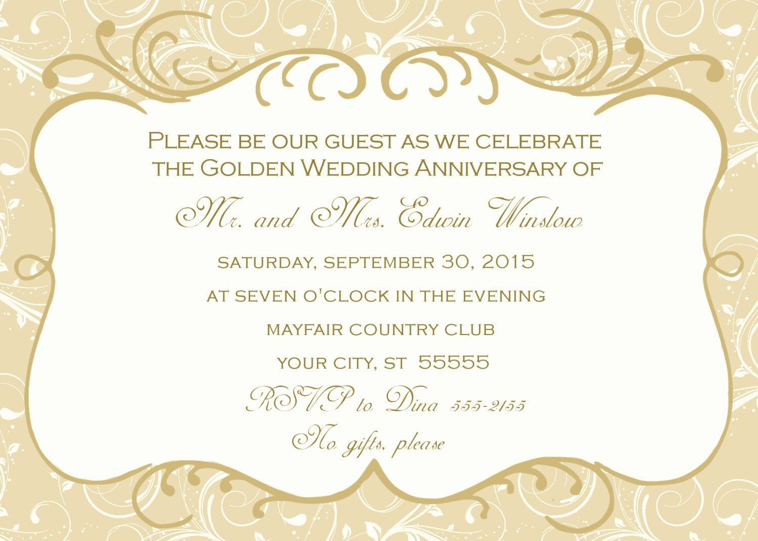 005 Stupendou 50th Wedding Anniversary Invitation Template Highest Quality  Templates Golden Uk Free DownloadFull