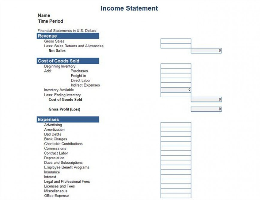 005 Stupendou Basic Profit And Los Template Idea  Free Simple Form Statement Excel For Self Employed868
