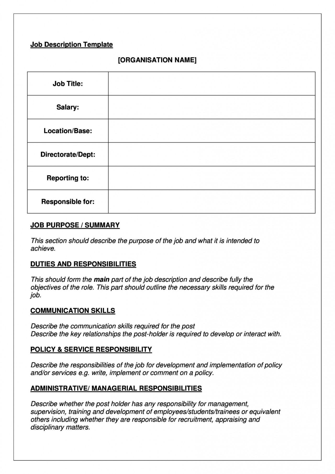 005 Stupendou Blank Job Description Template Picture  Word Free Printable1400