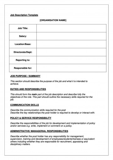 005 Stupendou Blank Job Description Template Picture  Word Free Printable360