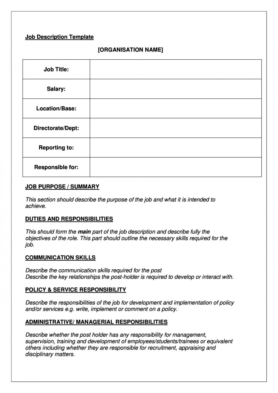 005 Stupendou Blank Job Description Template Picture  Word Free Printable960
