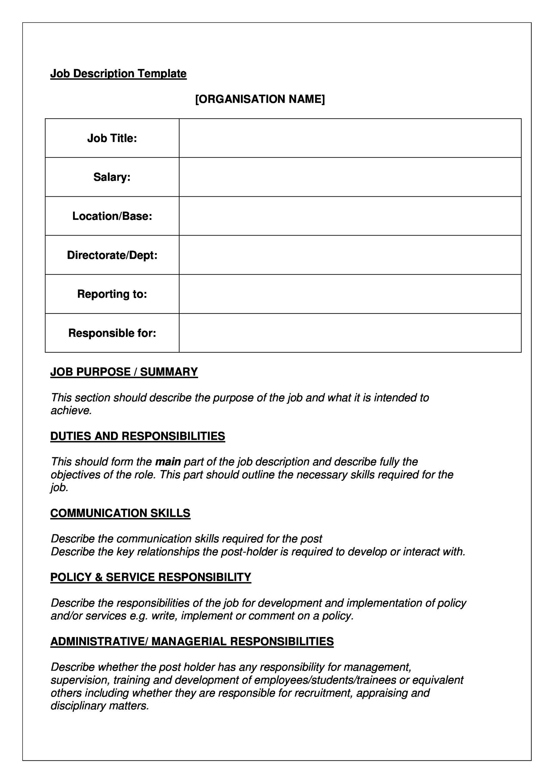 005 Stupendou Blank Job Description Template Picture  Word Free PrintableFull