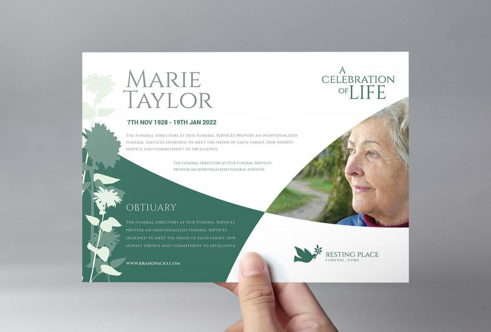 005 Stupendou Free Celebration Of Life Brochure Template Photo  Flyer960