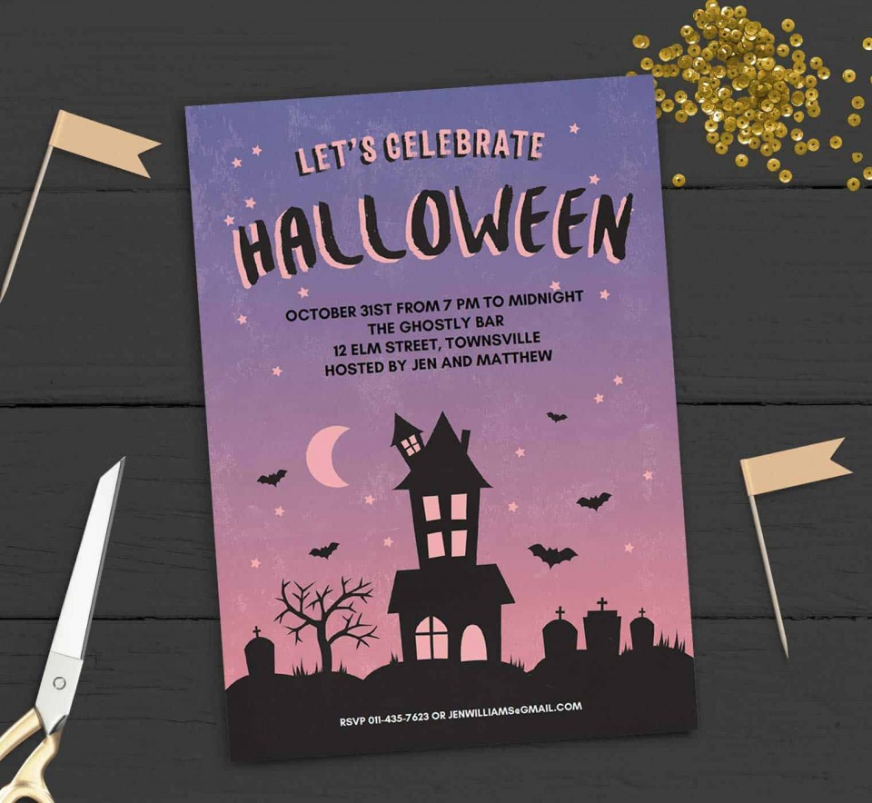 005 Stupendou Free Halloween Party Invitation Template Photo  Printable Birthday For Word Download960