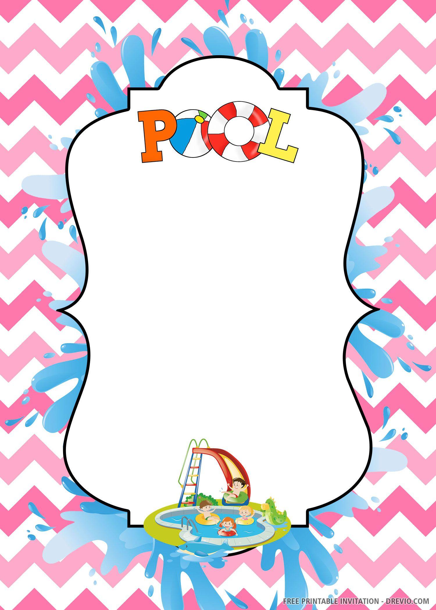 005 Stupendou Free Pool Party Invitation Template Printable Image  Card SummerFull