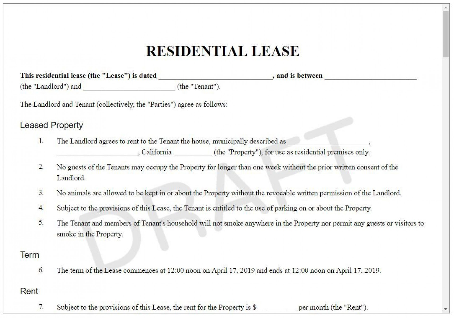 005 Stupendou Sample House Rental Agreement Template Highest Quality  Contract Lease1920