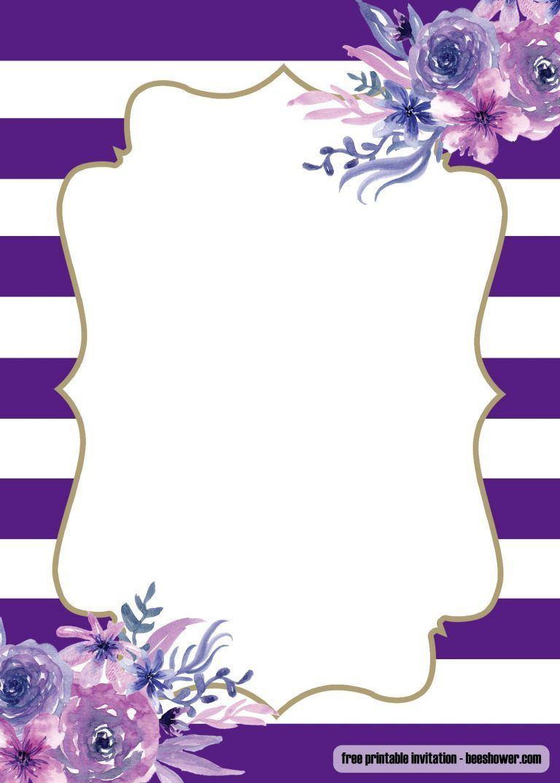 005 Surprising Baby Shower Invitation Girl Purple High Def Full