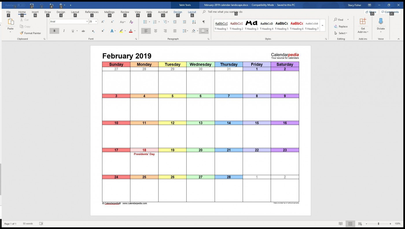 005 Surprising Calendar Template For Word 2007 Sample 1400