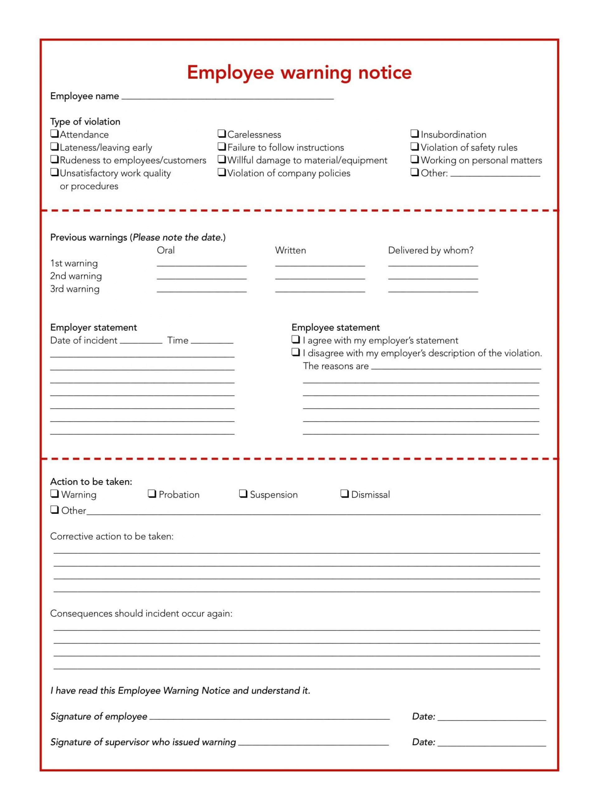 005 Surprising Disciplinary Write Up Template Highest Quality  Templates Employer Form1920