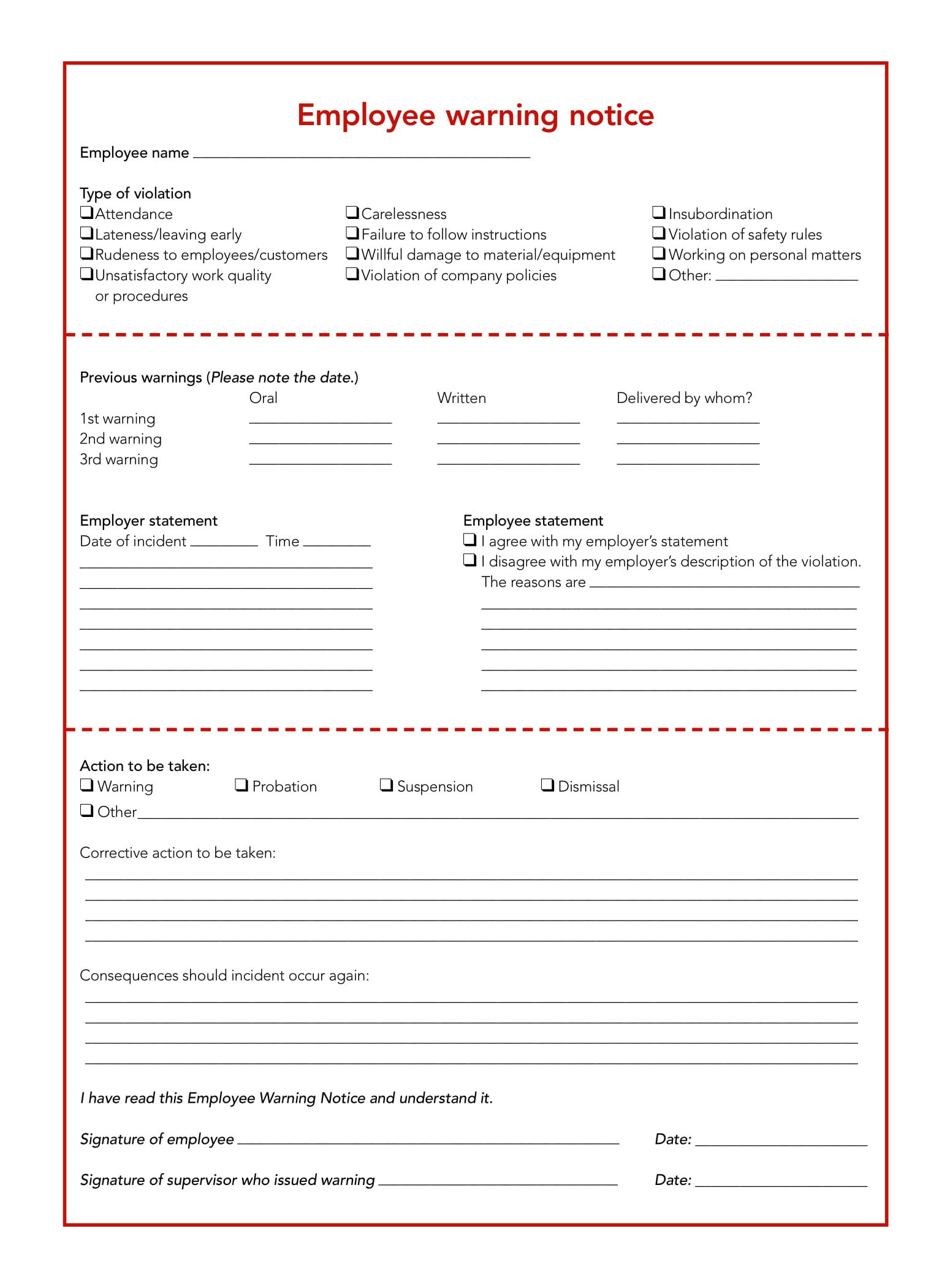 005 Surprising Disciplinary Write Up Template Highest Quality  Templates Employer FormFull
