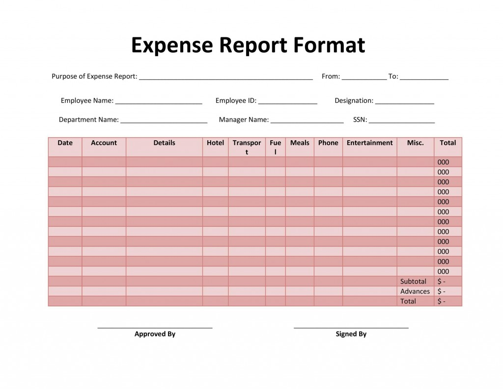 005 Surprising Free Blank Expense Report Form Highest Quality  Forms TemplateLarge