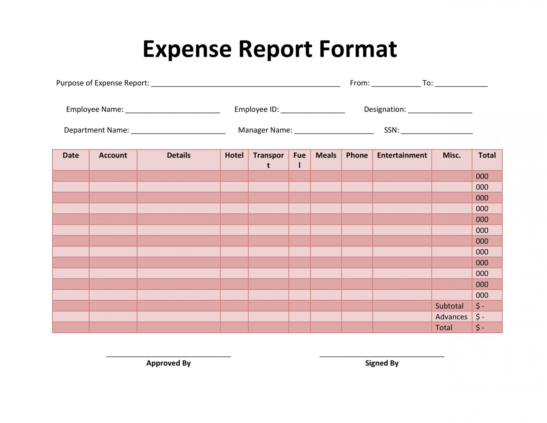 005 Surprising Free Blank Expense Report Form Highest Quality  Forms Template1920