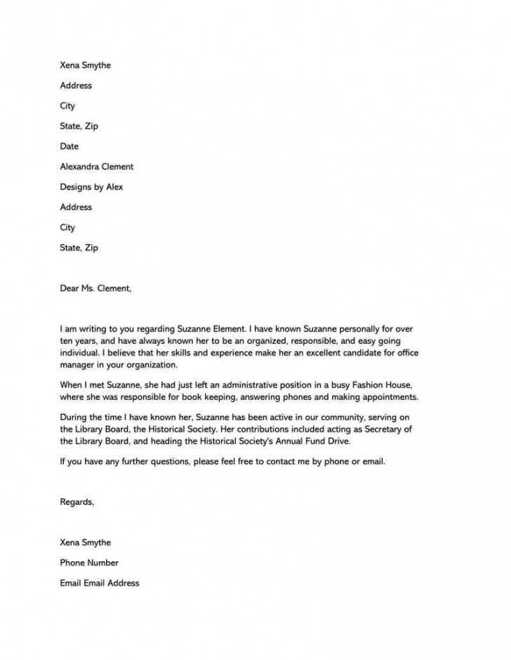 005 Surprising Free Reference Letter Template For Friend Sample 728