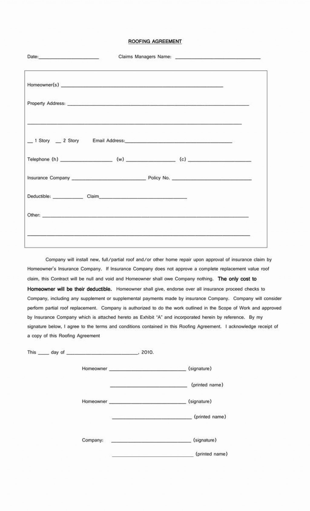 005 Surprising Free Residential Roofing Contract Template Sample Large