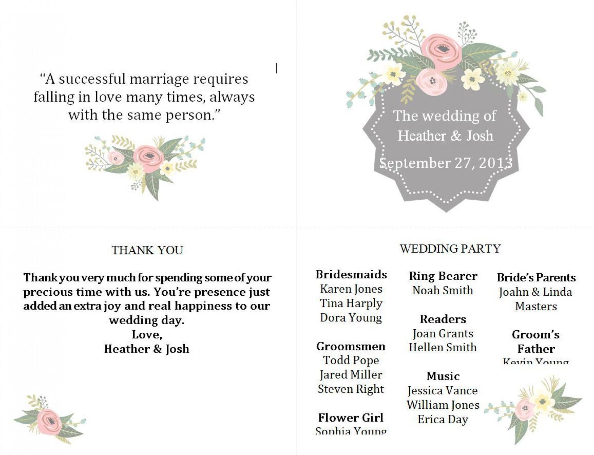 005 Surprising Free Wedding Program Template Photo  Templates Pdf Download Fan Word1920