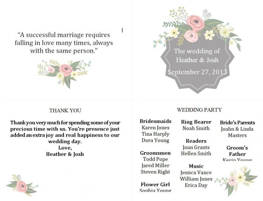 005 Surprising Free Wedding Program Template Photo  Templates Printable Fall Microsoft Word