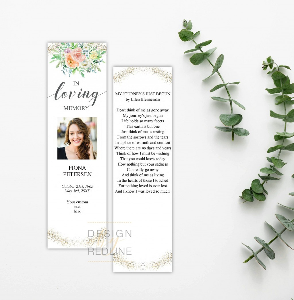 005 Surprising In Loving Memory Bookmark Template Free Download Concept Large