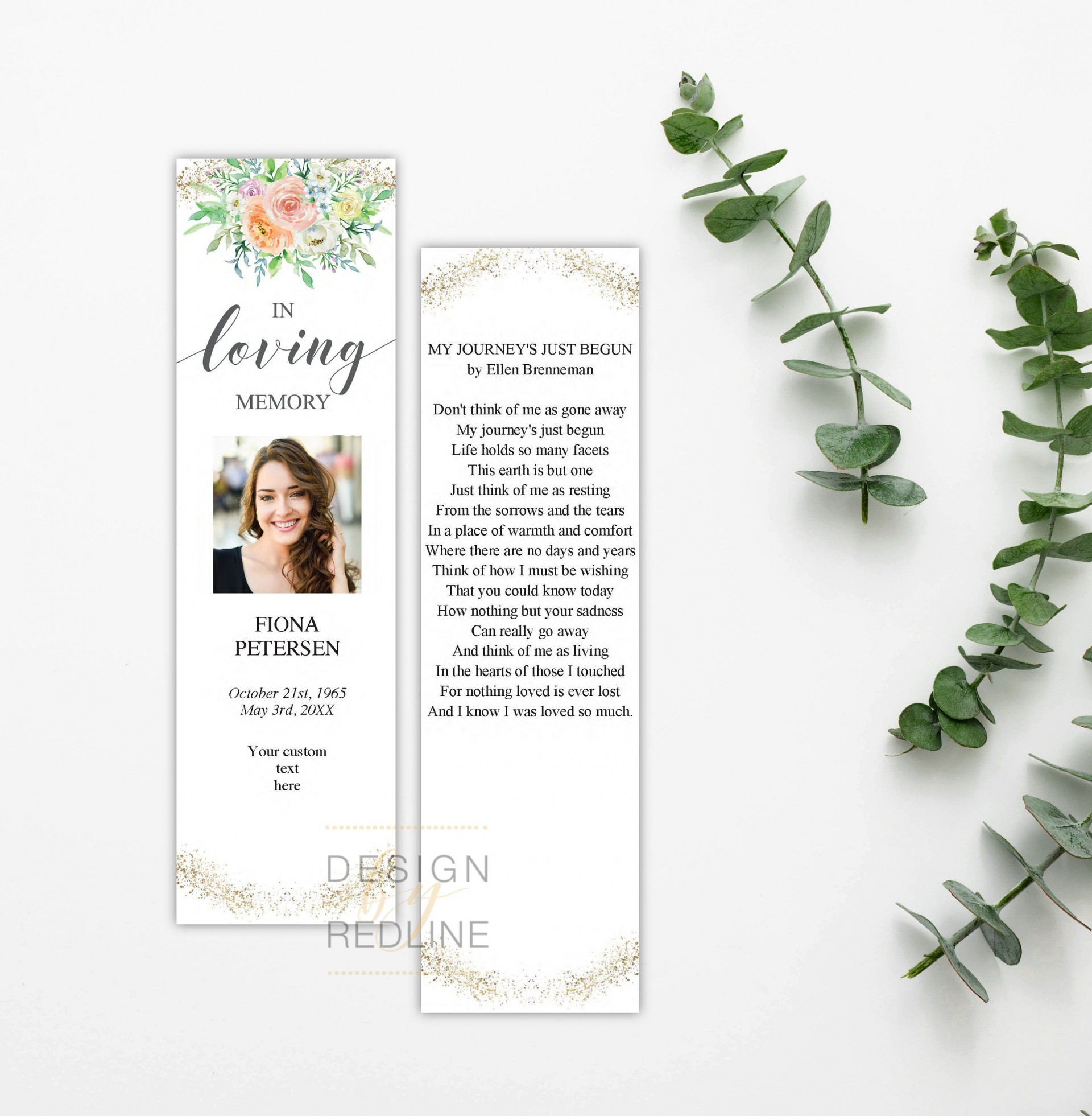 005 Surprising In Loving Memory Bookmark Template Free Download Concept 1920