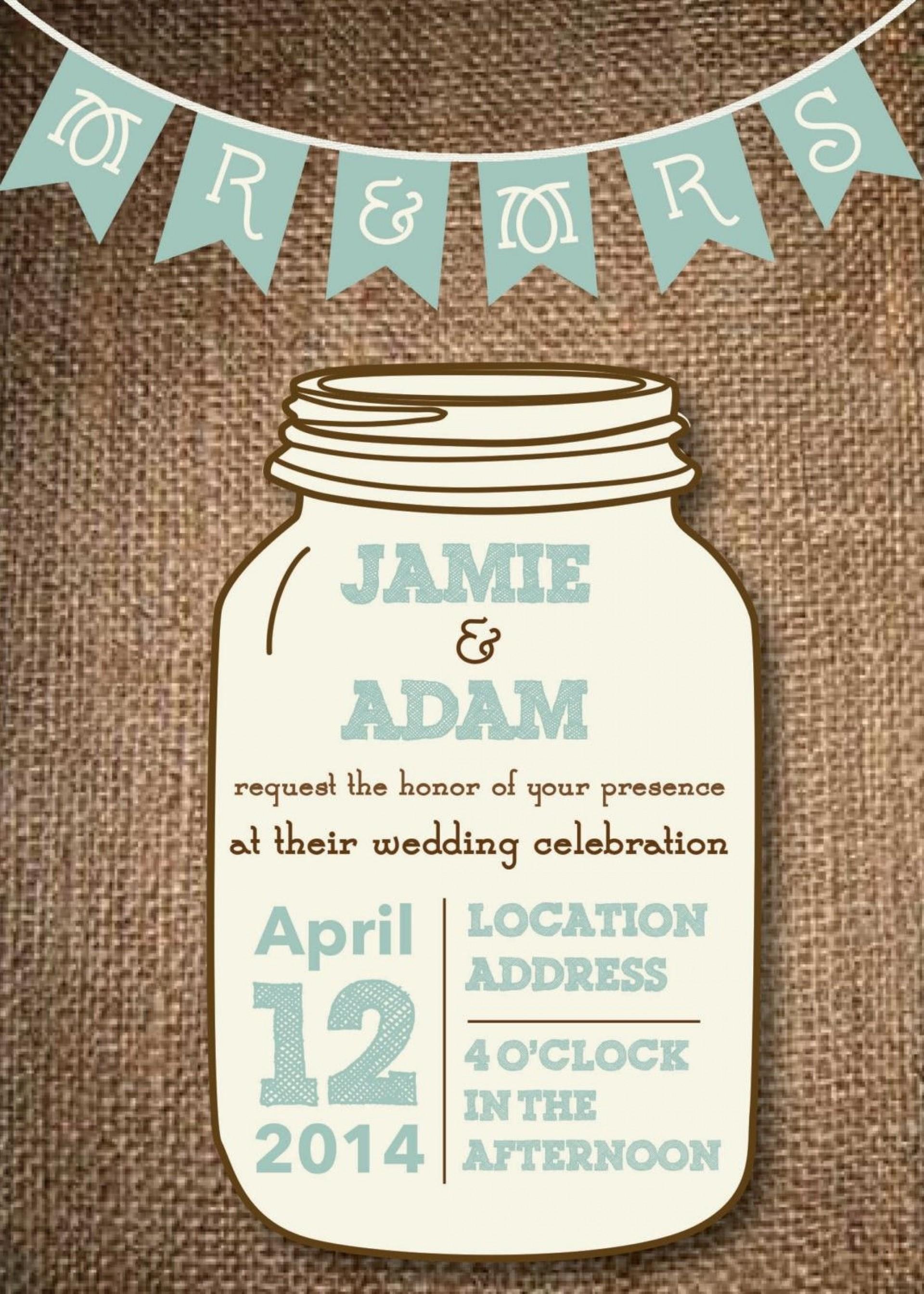 005 Surprising Mason Jar Invitation Template High Definition  Free Wedding Shower Rustic1920