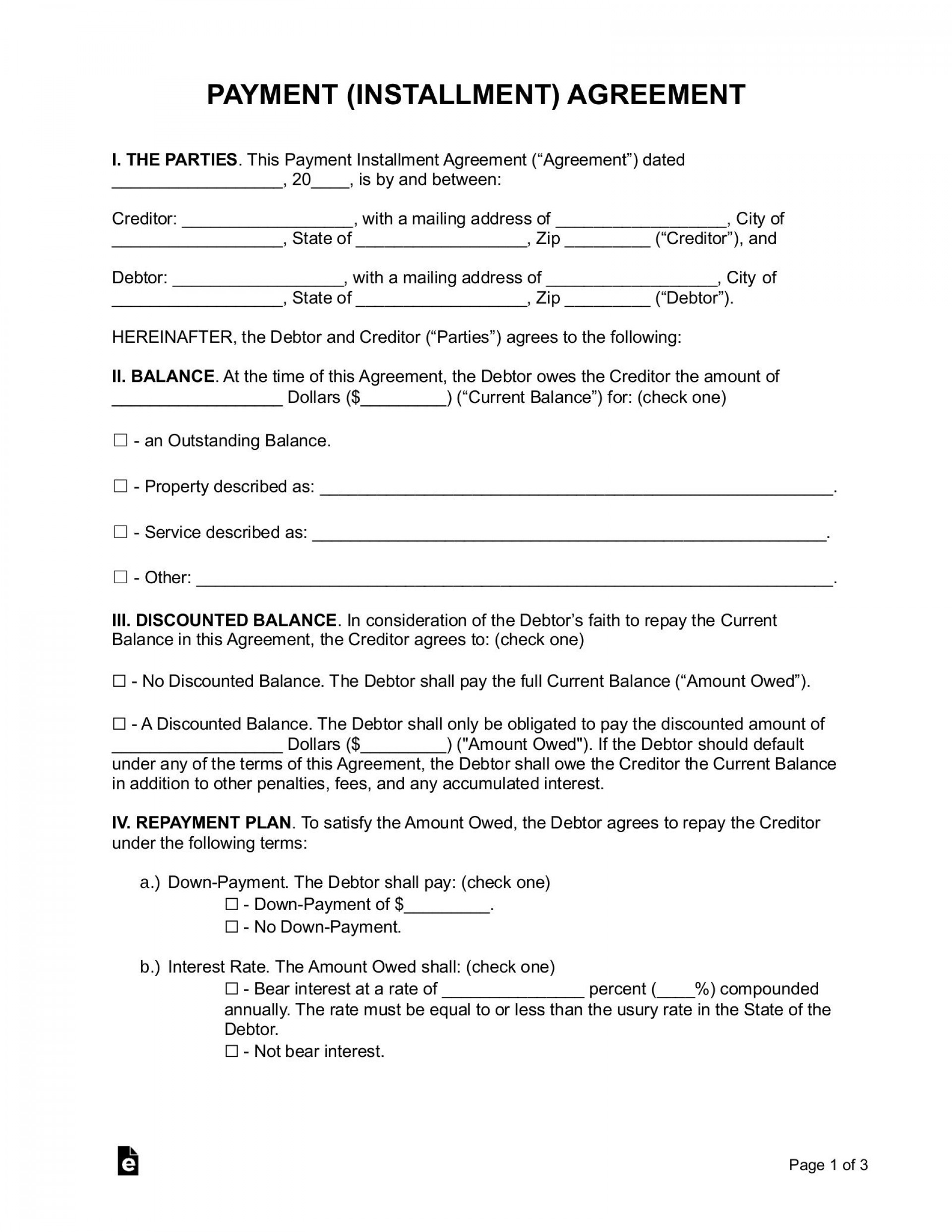 005 Surprising Payment Plan Agreement Template Example  Free1920