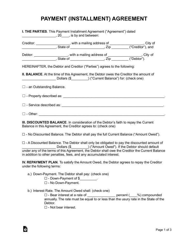 005 Surprising Payment Plan Agreement Template Example  Free728