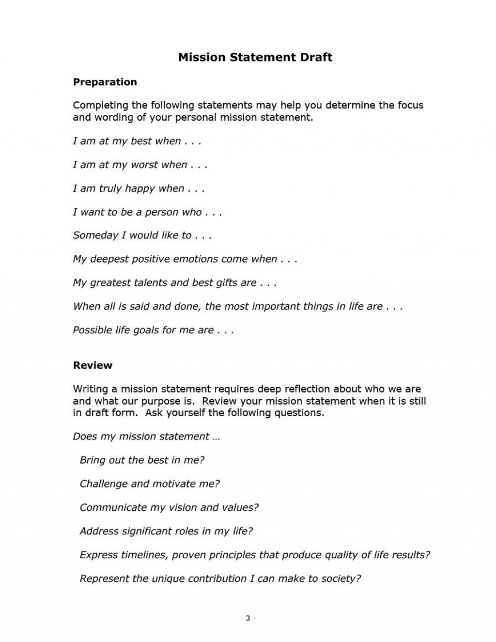 005 Surprising Personal Mission Statement Template Design  Templates Example Student GoodLarge