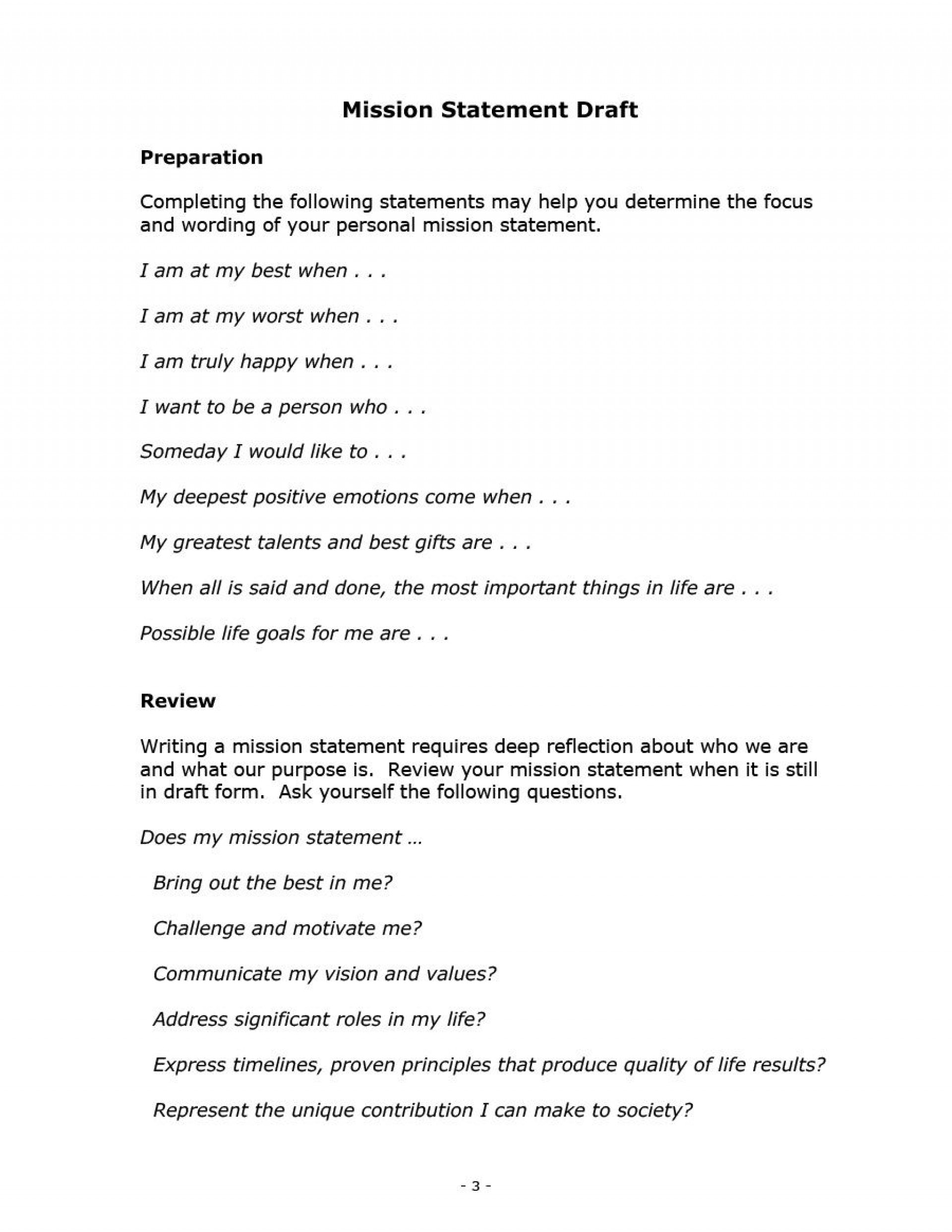 005 Surprising Personal Mission Statement Template Design  Templates Example Student Good1920