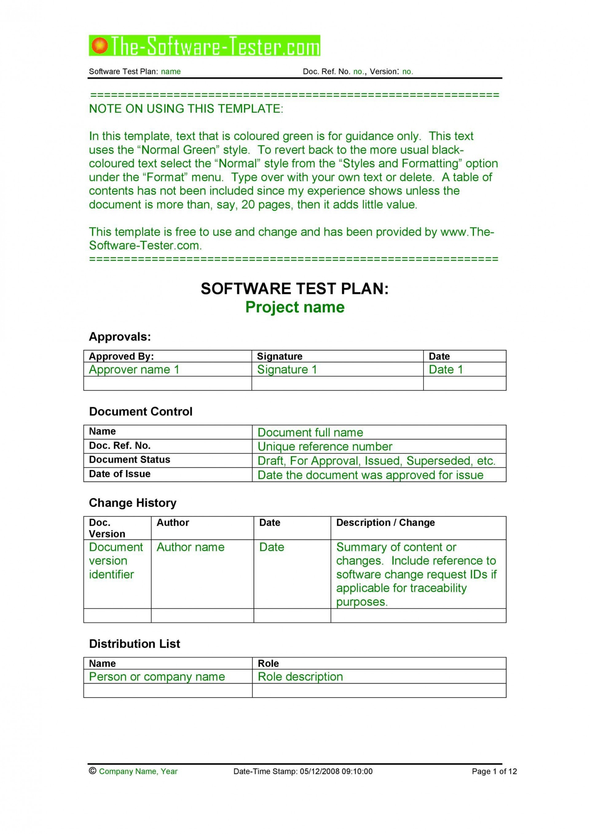 005 Surprising Simple Application Test Plan Template High Def  Word Software Excel1920
