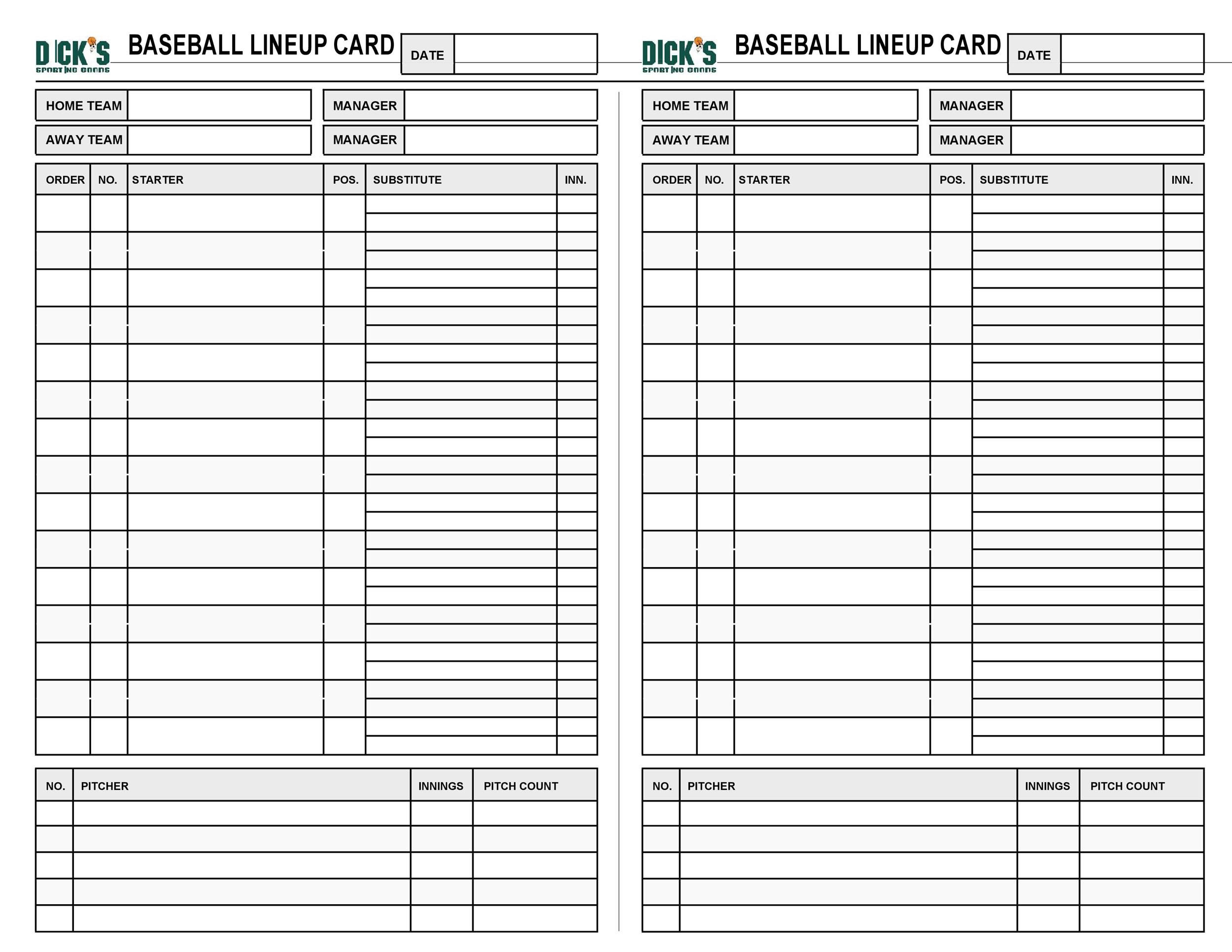 005 Surprising Softball Lineup Template Excel Concept  Batting Card RosterFull