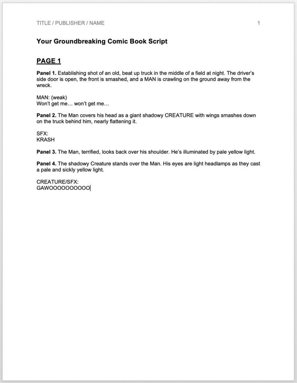 005 Top Comic Book Script Writing Format High Definition  ExampleLarge