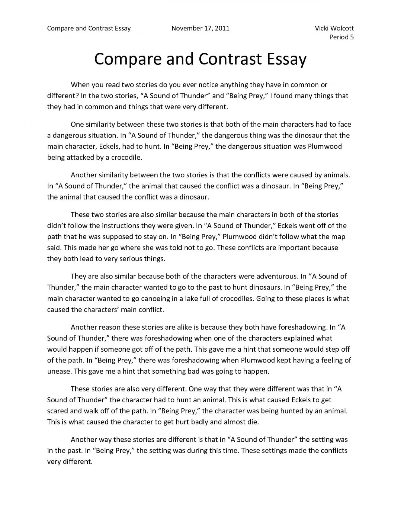 005 Top Compare And Contrast Essay Example College Highest Clarity  For Topic Outline1400