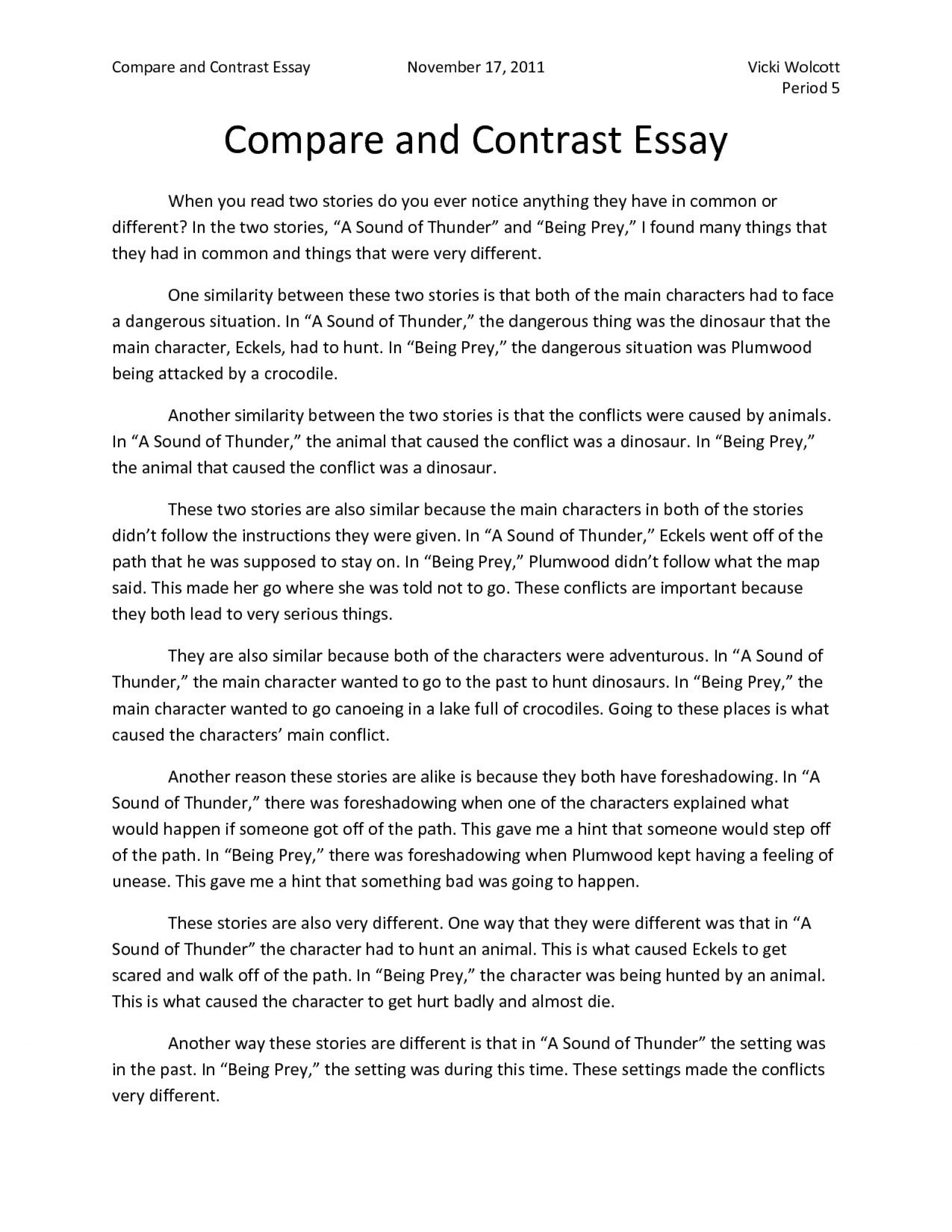005 Top Compare And Contrast Essay Example College Highest Clarity  For Topic Free Comparison1920