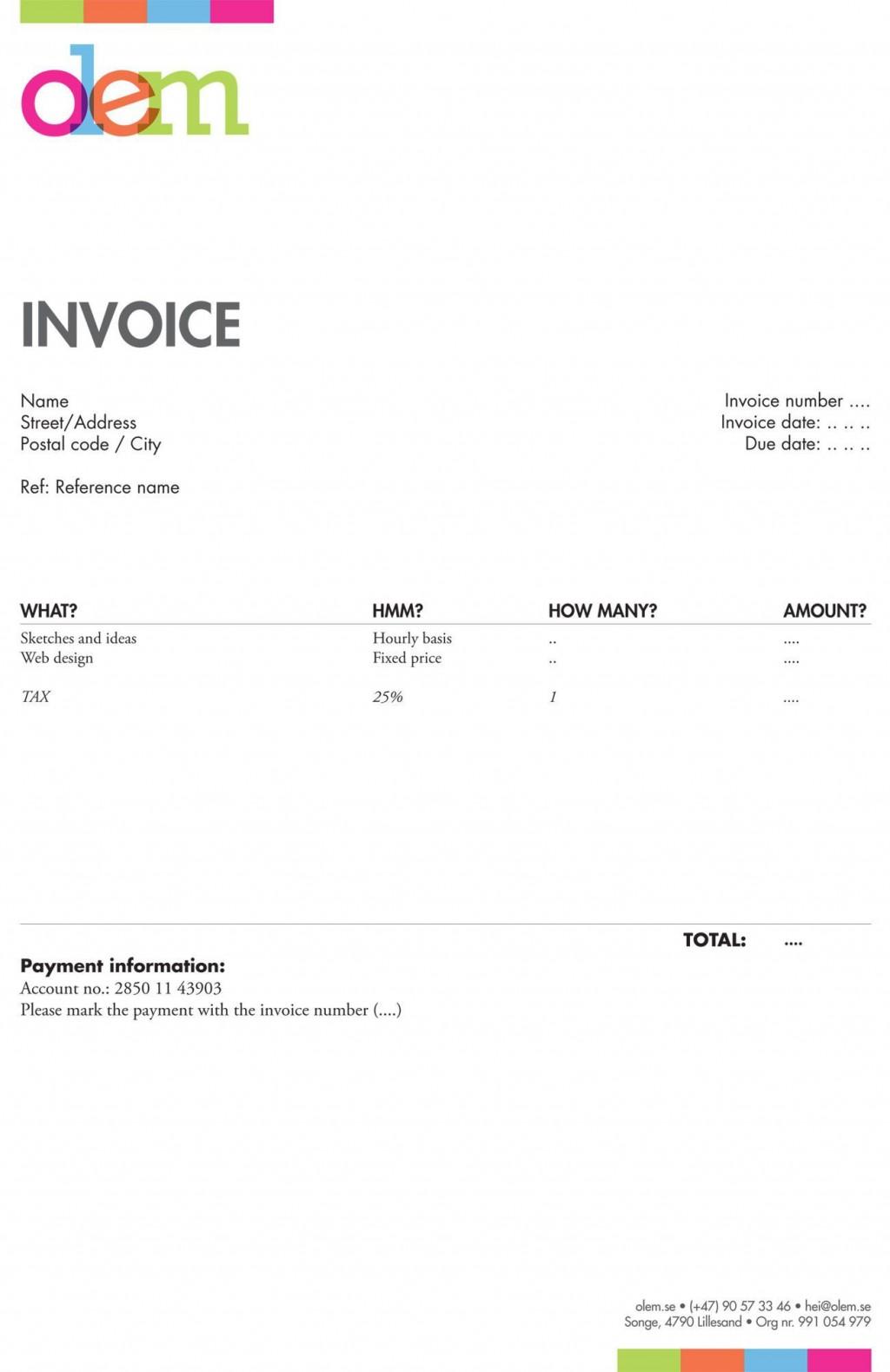 005 Top Freelance Designer Invoice Template Inspiration  Web Creative UkLarge